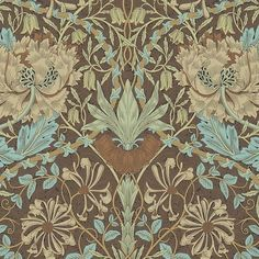 Honeysuckle and Tulip Wallpaper A Honeysuckle & Tulip design in taupe and aqua, this wonderful design from the Morris & Co collection first produced in 1876.