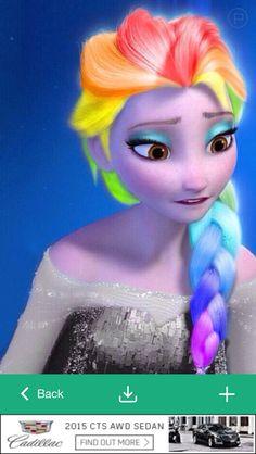 Haha Elsa with rainbow hair and a grey dress