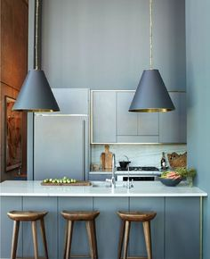 Modern Kitchen Interior Remodeling Gorgeous moody grey kitchen - Heart of the Home: Kitchen Townhouse Kitchen Ikea, Home Decor Kitchen, New Kitchen, Kitchen Dining, Kitchen Small, Apartment Kitchen, Gold Kitchen, Compact Kitchen, Kitchen Stools