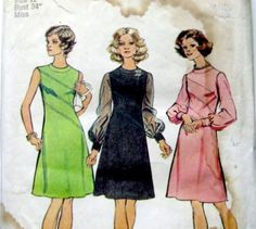 1970s Dress Pattern Simplicity 6096 Look Slimmer by WitNWhimzy, $8.00