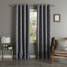 Aurora Home Linked Circle 84-inch Foil Printed Blackout Curtain Panel... ($75) ❤ liked on Polyvore featuring home, home decor, window treatments, curtains, grey, grommet window panels, grey window curtains, grey curtains, window curtains and gray curtains
