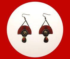 Boucles d'oreilles bronzes et rouges ethniques et bohèmes