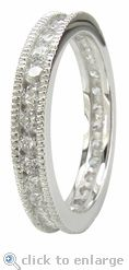Cubic Zirconia Millgrained Channel Round Eternity Band in 14K White Gold.  The Millgrained Channel Round Eternity Band features 2mm round cz with a total carat weight of approximately 1.5 carats. $650 #ziamond #cubiczirconia #cz #eternity #band #ring #wedding #diamond