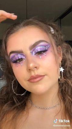 Disco Makeup, Rave Makeup, Edgy Makeup, Eye Makeup Art, Makeup Eyes, Purple Makeup Looks, Glitter Makeup Looks, Mermaid Makeup Looks, Halloween Makeup Glitter