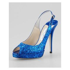 blue jimmy choo peep toe glitter shoe