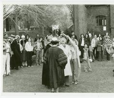 Students, faculty, and staff at a retirement celebration for President David Truman and his wife Elinor, outside Blanchard Hall :: Archives & Special Collections Digital Images :: 1978