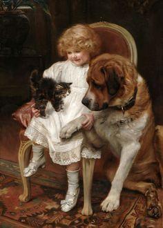 ART~ He Won't Bite!~ Arthur John Elsley (English Artist,  1860-1952) ⊰º~Sol Holme~º⊰  º∮⊰ ═════════⊰∮.º