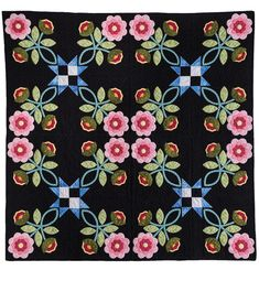 Create this floral applique quilt by Christy Burdick, creating a whole new design when you combine asymmetrical blocks. Heart Quilt Pattern, Quilt Patterns Free, Applique Patterns, Applique Quilts, Applique Wall Hanging, Rose Of Sharon, Lap Quilts, How To Finish A Quilt, Quilting Designs