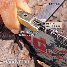 Is your dull chain saw blade burning and bucking its way through the wood? It's a slow way to cut. It's also a dangerous way to cut. Here's how to sharpen your chain saw blade and cut more quickly—and avoid messy chain saw accidents. Chainsaw Repair, Chainsaw Mill, Chainsaw Chains, Stihl Chainsaw, Chainsaw Sharpening Tools, Chainsaw Sharpener, Lawn Mower Repair, Handyman Projects, Tree Felling