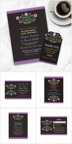 Fiesta Black Floral Collection Fun wedding invites. Customize invitations for your weddings. #invitations #invites #weddings
