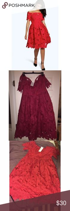 Boutique Lisa Off Shoulder Lace Skater Dress 14 Red Lace Off Shoulder Skater Dress, NEVER WORN WITH TAGS. Size 16, Lined and stretchy Dresses Midi
