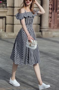 Simple easy but pretty dress look. Check the Black Checkerboard Fold Over Cold Shoulder Dress here. And more dresses here for you.