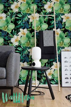 White Orchid Flower Pattern Wallpaper Orchid Removable