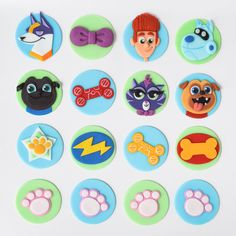 puppy dog pals themed fondant cupcake toppers Puppy Birthday Cakes, Puppy Birthday Parties, Puppy Party, Baby Birthday, Birthday Ideas, Bingo, Mini Tortillas, Dog Cakes, Paws And Claws