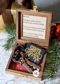 Santa's Magic Keys. Love this idea and I have the perfect box and key! Add this to kids Christmas Eve box.