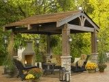 outdoor living space, fireplace