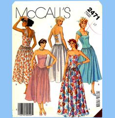 329 Womens Dress, Gown, Shaped Waistline, 2 Lengths, size 12, Vintage 80's Sewing Pattern Uncut McCalls 2471 on Etsy, $5.90 CAD