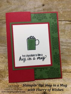 Stampin' Up! Hug in a Mug with Flurry of Wishes created by Kay Kalthoff for How To Video Included! Diy Craft Projects, Diy Crafts, Making Memories, Card Sketches, Christmas Lights, Hot Chocolate, Hug, Party Favors, Stampin Up