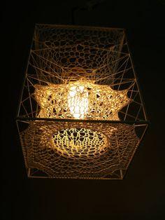 crocheted lamp.