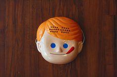 NISSEI□ニックン Nissei soft serve boy mascot face mask, new at the little dröm store.