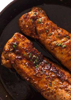 cooking recipes Overhead photo of two Honey Garlic Pork Tenderloin in a black skillet, fresh out of the oven Pork Chop Recipes, Meat Recipes, Cooking Recipes, Game Recipes, Pork Filet Recipes, Pork Marinade Recipes, Cooking Games, Sandwich Recipes, Recipies
