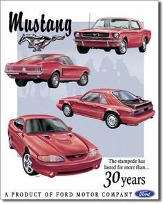Ford Mustang 40th Logo Stang Pony Muscle Car Retro Garage Wall Decor Metal Sign