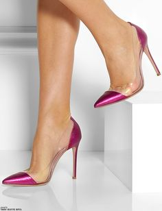 Zapatos de mujer - Womens Shoes - Gianvito Rossi Metallic Leather and PVC Pumps