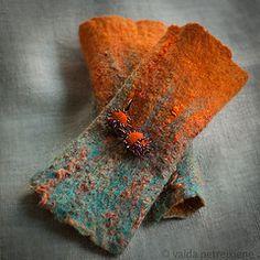 Felted Fingerless Gloves / Arm Warmers / Wristlets and Earrings - Orange Summer Dreams