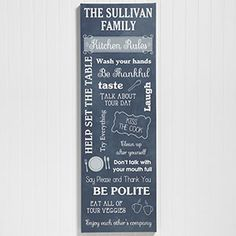 "Kitchen Rules Wall Art Canvas Print  - You can personalize it with your own ""rules"" so it says whatever you'd like!"