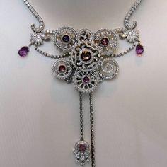 @mariigem. Amazing #necklace with unique design by #vancleefarpels  #fashionjewelry #platinum #whitegold #diamonds #amethyst #ruby #sapphire #mariigem