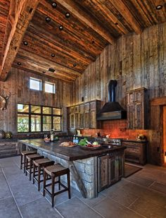 Modern-Rustic barn style retreat in texas hill country barn kitchen, home d Rustic Kitchen Design, Home Decor Kitchen, Barn Kitchen, Rustic Kitchens, Open Kitchens, Western Kitchen Decor, Remodeled Kitchens, Rustic Kitchen Cabinets, Kitchen Modern