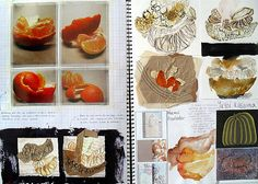 These A2 sketchbook pages show clever and highly original investigations of the organic forms, colours, patterns and textures of a peeled mandarin. This high school sculpture project is a beautiful mix of first-hand sources, artist influence, inventive media exploration, textural discovery and annotation.