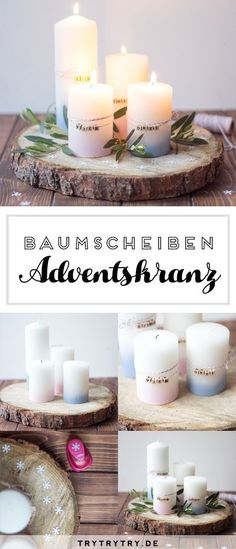 DIY tree disc Advent wreath simply for the men& taste. - DIY tree disc Advent wreath simply for the men& taste. Christmas Articles, All Things Christmas, Christmas Time, Christmas Crafts, Decoration Christmas, Christmas Tree Wreath, Cheap Candles, Diy Candles, Advent Candles