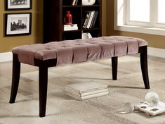Furniture of America Jayla Tufted Flannelette Accent Bench, Green