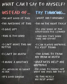 Instilling the idea of a growth mindset is important for students. These phrases can contribute to a students self reflection process. This could be a helpful poster to hang in the classroom to remind students that learning is a process. Classroom Organization, Classroom Management, Coaching, School Psychology, School Counselor, Future Classroom, Social Skills, Social Work, Coping Skills