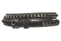 "3/4"" (19 mm) Punk Rock Star Hematite Pyramid Studded Skinny Leather Belt Size: S-30""~32"" Color: Black beltiscool. $31.54. Save 21%!"