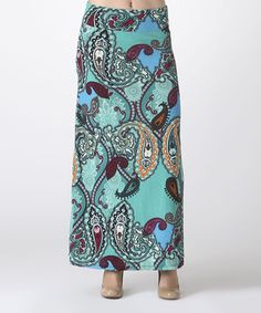 BOLD & BEAUTIFUL Aqua & Turquoise Paisley Maxi Skirt by BOLD & BEAUTIFUL #zulily #zulilyfinds