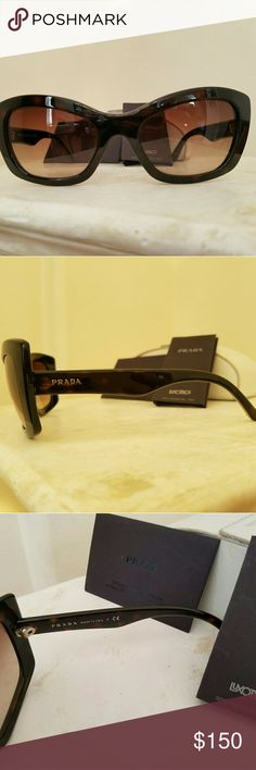 """AUTHENTIC Prada Cat Eye sunglasses Preowned. Some light wear. Comes with authentic card. Which allows you to get your lens replaced at any prada store if necessary. Sunglasses model is called """" post cards"""" with recipet Prada Accessories Sunglasses"""
