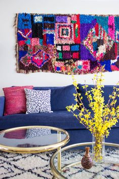 Hang a rug as art. Boucheroutie on the wall, Beni Ourain on the floor. Nice! www.etsy.com/shop/pinkrugco