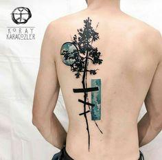 By Koray Karagozler | Turkey | #Tattoo #Design #Tree #Moon #BackTattoo