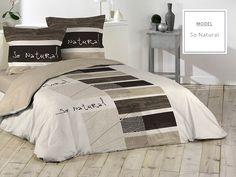 Bavlnené posteľné obliečky hnedej farby s motívom dreva