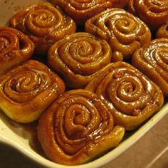 Ooey-Gooey Cinnamon Buns - Allrecipes.com I would probably use my Potato Roll dough recipe for this because it's a little sweeter and have made many cinnamon rolls with it.