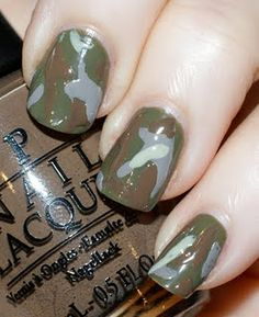 Camo Nails @Victoria Beeler We should buy fake nails and then get nail polish to paint them camo! That would probably be the best option.