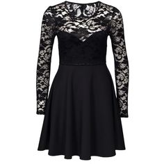 Nly One Skater Lace Back Dress (£35) ❤ liked on Polyvore featuring dresses, black, party dresses, womens-fashion, skater dress, black circle skirt, lace dress, open back cocktail dress and black cocktail dresses
