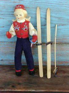 Ronnaug Petterssen Norway Norwegian Girl Ski Doll w Skiis in Box Cloth 1950'A | eBay