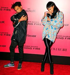 Jaden, Willow Smith Strike Creepy Poses at Catching Fire Premiere: Pic - Us Weekly
