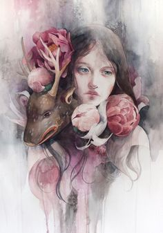 pink - woman with deer - watercolor - Valerie Chua