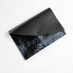 Marbled Leather Clutch Purse