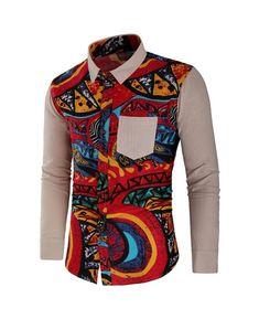 Abstract Print Panel Long Sleeve Shirt - Light Khaki - - Men's Clothing, Men's Tops & T-Shirts, Men's Shirts # # African Shirts Designs, African Shirts For Men, African Dresses Men, African Clothing For Men, African Wear, Nigerian Men Fashion, African Men Fashion, African Print Shirt, Mens Shirts Online