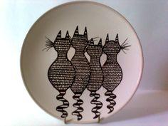 Hand drawn ceramic cat plate by artdp.